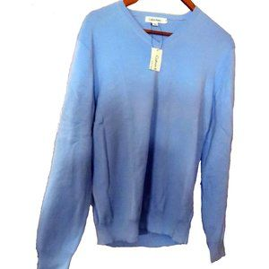 NWT- Calvin Klein V-Neck Blue Sweater Cotton Sz M